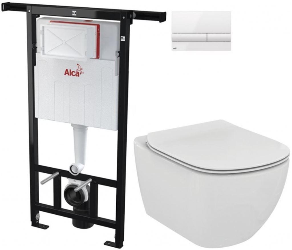 AKCE/SET/ALCAPLAST - Jádromodul - predstenový inštalačný systém + tlačidlo M1710 + WC TESI (AM102/1120 M1710 TE3)
