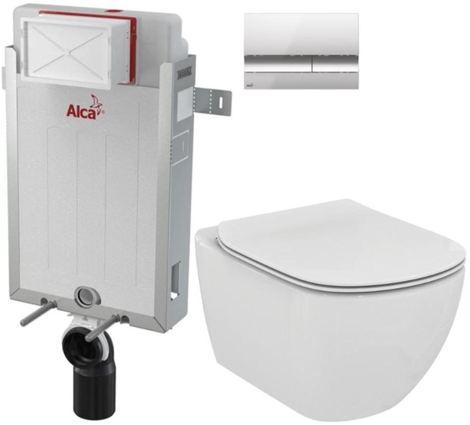 AKCE/SET/ALCAPLAST - Renovmodul - predstenový inštalačný systém + tlačidlo M1721 + WC TESI (AM115/1000 M1721 TE3)