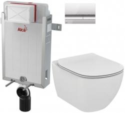 AKCE/SET/ALCAPLAST - SET Renovmodul - predstenový inštalačný systém + tlačidlo M1721 + WC TESI (AM115/1000 M1721 TE3)