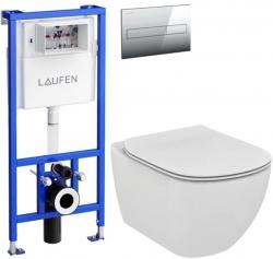 AKCE/SET/LAUFEN - Rámový podomietkový modul CW1 SET + ovládacie tlačidlo CHRÓM + WC TESI (H8946600000001CR TE3)