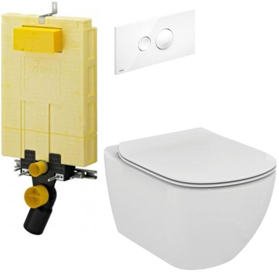 /SET/VIEGA - MONO modul WC čelné ovládanie + ovládacie tlačidlo BIELE + WC TESI (V606732BI TE3)