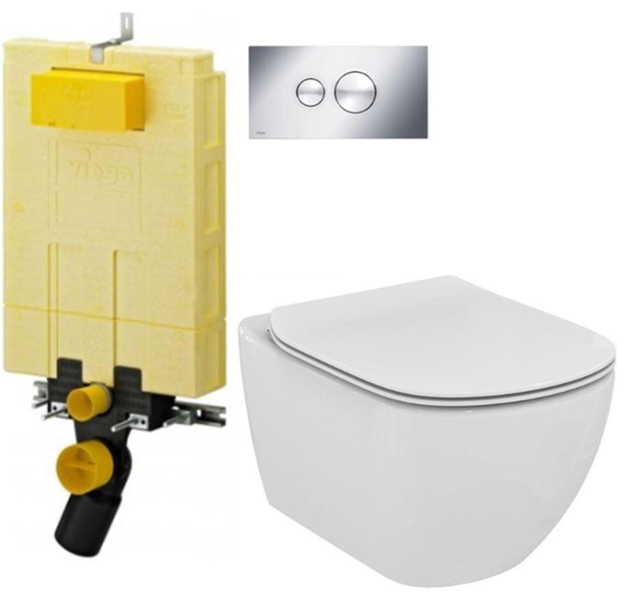 /SET/VIEGA - MONO modul WC čelné ovládanie + ovládacie tlačidlo CHRÓM + WC TESI (V606732CR TE3)
