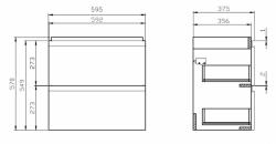 CERSANIT - SET 978 MODUO SLIM 60 BIELA DSM (SKRINKA + UMÝVADLO) (S801-227-DSM), fotografie 16/9