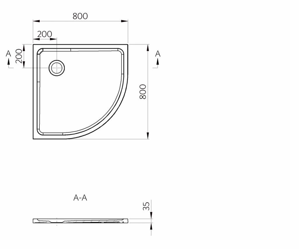 PRIM - Štvrťkruhová vanička 800x800 biela BEZ NOH (PRIM8080R55M)