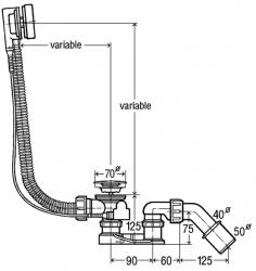Sifon vanový automat Simplex 56cm 40/50 Viega 285357 (V 285357)