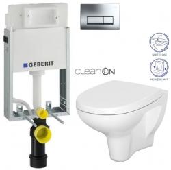 AKCE/SET/GEBERIT - KOMBIFIXBasic vrátane ovládacieho tlačidla DELTA 51 CR pre závesné WC CERSANIT ARTECO CLEANON + SEDADLO (110.100.00.1 51CR AT1)