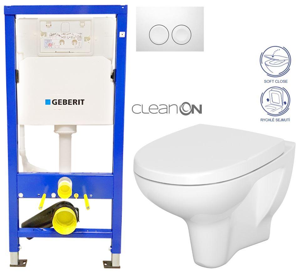 /SET/GEBERIT - Duofix Sada pre závesné WC 458.103.00.1 + tlačidlo DELTA21 biele + WC CERSANIT ARTECO CLEANON + SEDADLO (458.103.00.1 21BI AT1)