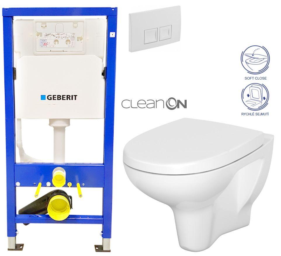 /SET/GEBERIT - Duofix Sada pre závesné WC 458.103.00.1 + tlačidlo DELTA50 biele + WC CERSANIT ARTECO CLEANON + SEDADLO (458.103.00.1 50BI AT1)