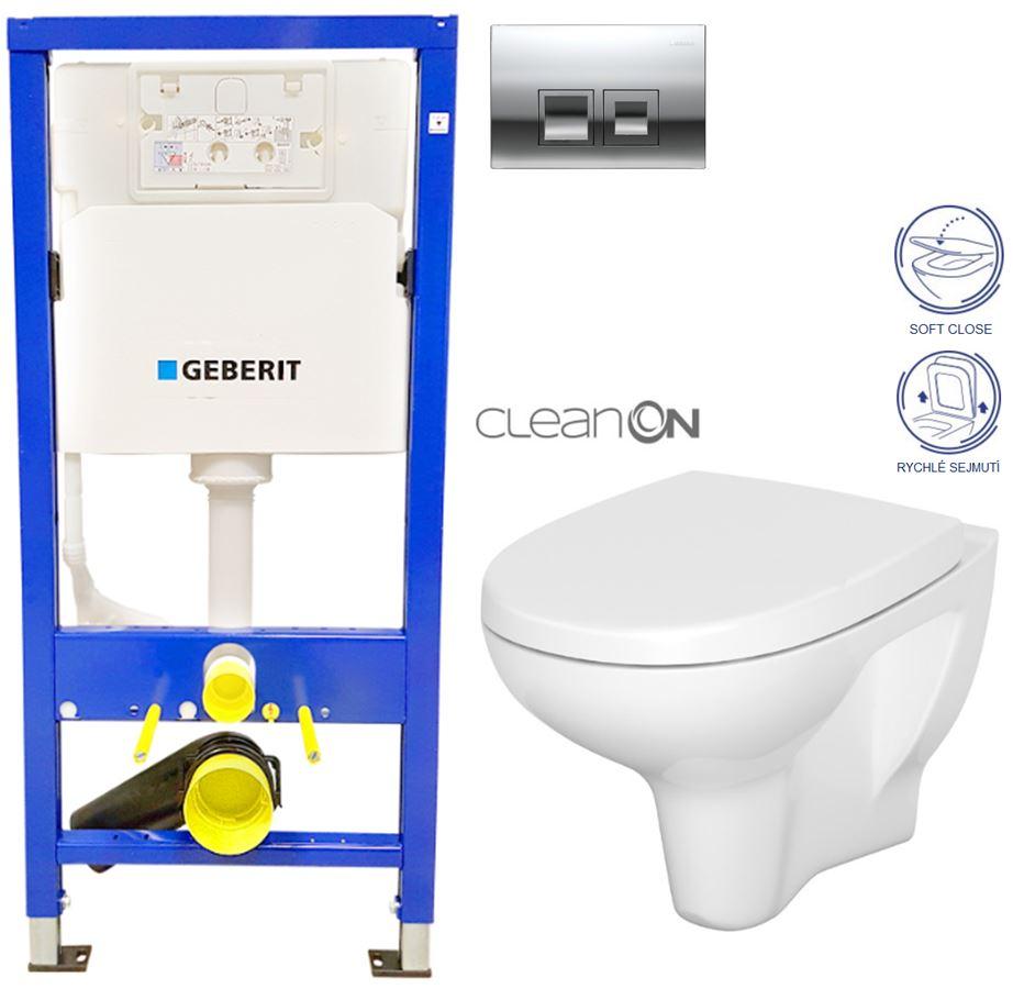 /SET/GEBERIT - Duofix Sada pre závesné WC 458.103.00.1 + tlačidlo DELTA50 CHRÓM + WC CERSANIT ARTECO CLEANON + SEDADLO (458.103.00.1 50CR AT1)