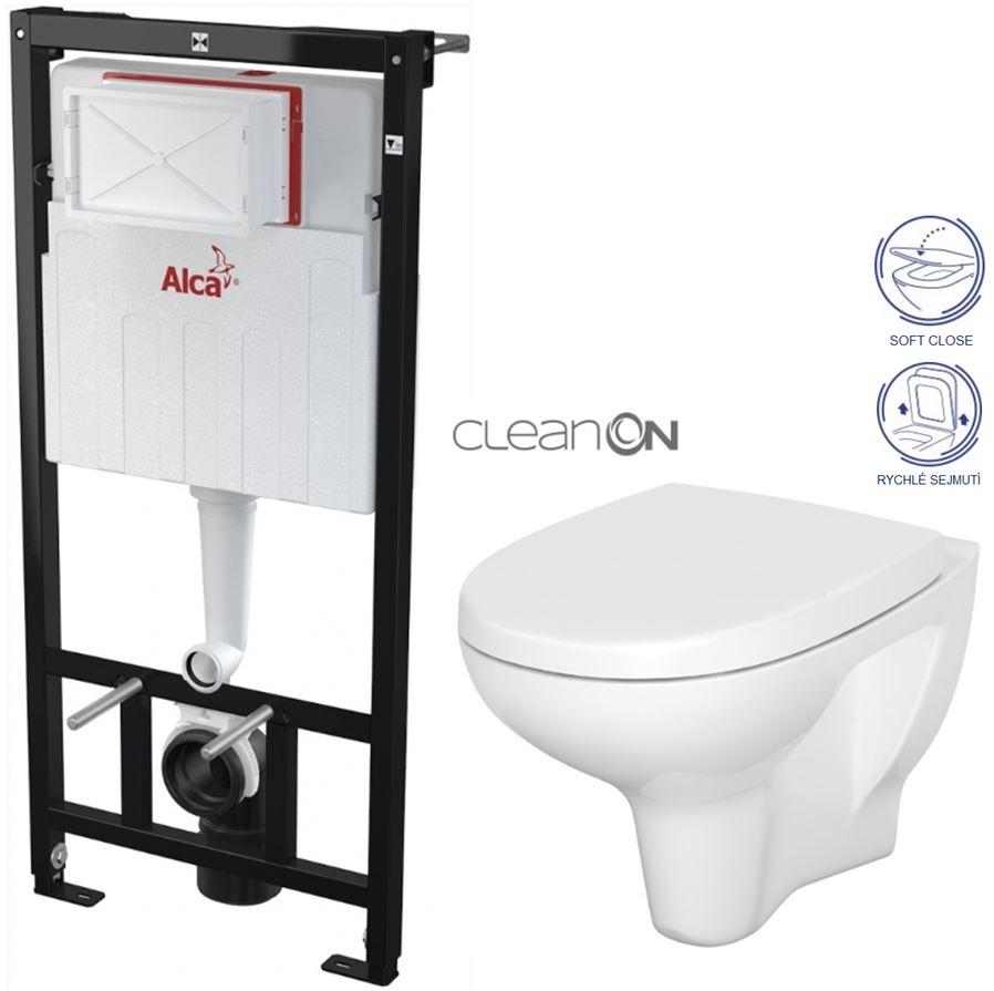 ALCAPLAST Sádromodul - předstěnový instalační systém bez tlačítka + WC CERSANIT ARTECO CLEANON + SEDÁTKO (AM101/1120 X AT1)