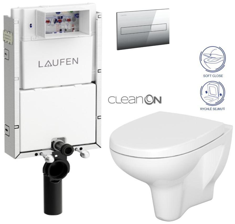 LAUFEN Podomít. systém LIS TW1 SET s chromovým tlačítkem + WC CERSANIT ARTECO CLEANON + SEDÁTKO (H8946630000001CR AT1)