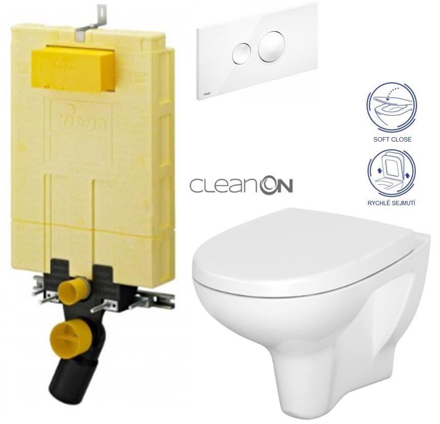 /SET/VIEGA - MONO modul WC čelné ovládanie + ovládacie tlačidlo BIELE + WC CERSANIT ARTECO CLEAN ON + SEDADLO (V606732BI AT1)