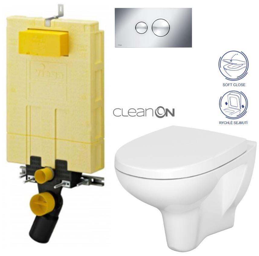 /SET/VIEGA - MONO modul WC čelné ovládanie + ovládacie tlačidlo CHRÓM + WC CERSANIT ARTECO CLEAN ON + SEDADLO (V606732CR AT1)