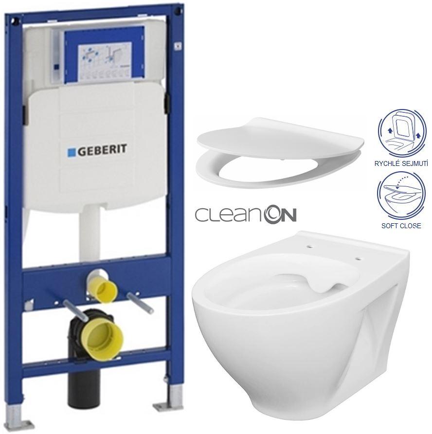 /SET/GEBERIT - Duofix pre závesné WC 111.300.00.5 bez ovládacej dosky + WC CERSANIT MODUO CLEANON + SEDADLO (111.300.00.5 MO1)