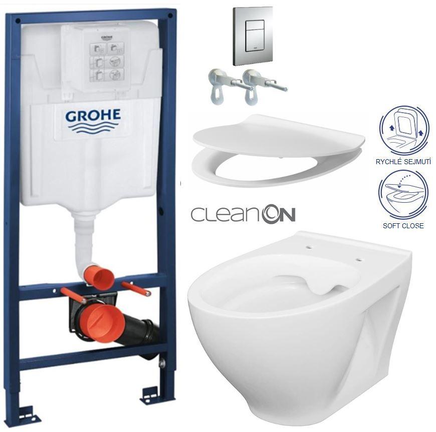 Rapid SL pre závesné WC 38528SET s chrómovou doskou + WC CERSANIT CLEANON MODUO + SEDADLO 38772001 MO1