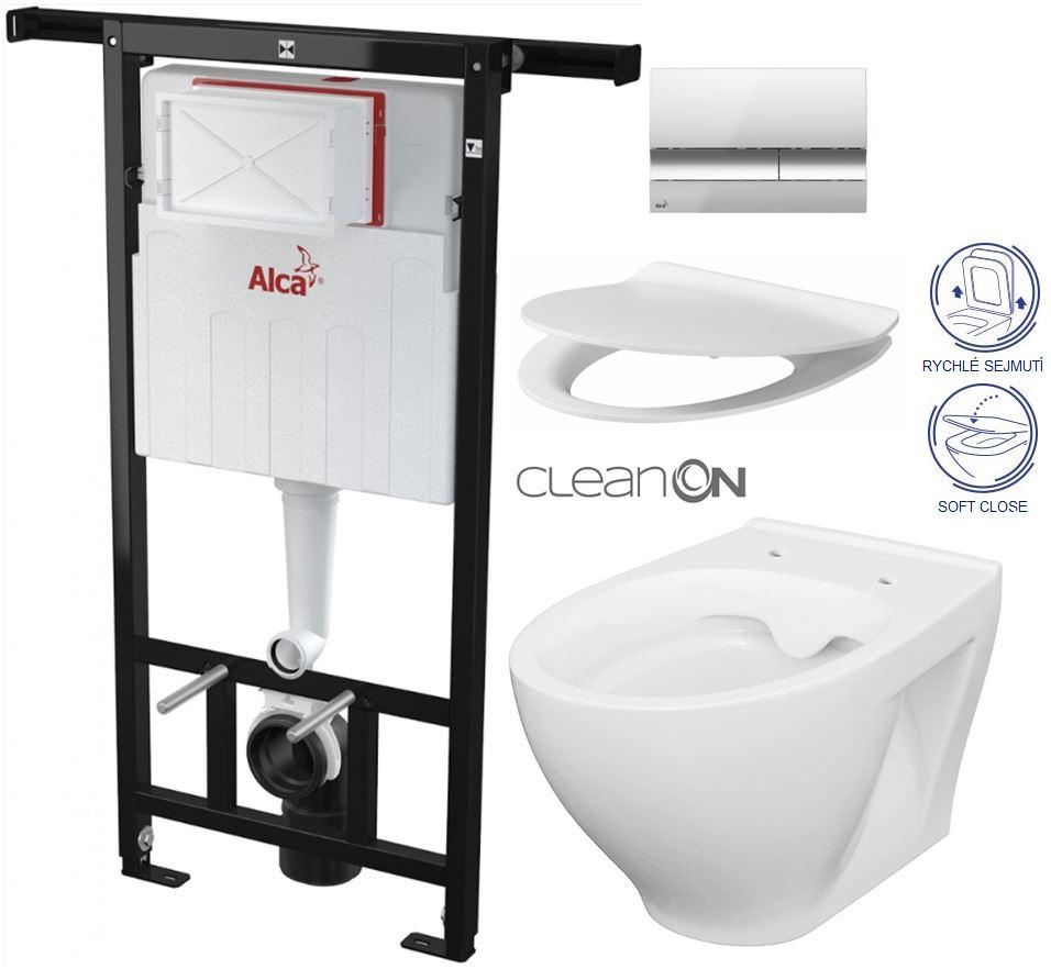 /SET/ALCAPLAST - Jádromodul - predstenový inštalačný systém + tlačidlo M1721 + WC CERSANIT CLEANON MODUO + SEDADLO (AM102/1120 M1721 MO1)