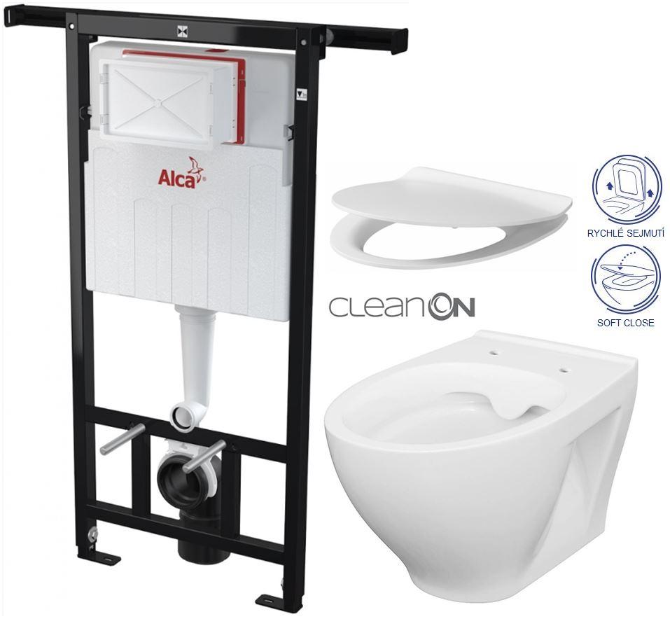 AKCE/SET/ALCAPLAST - Jádromodul - predstenový inštalačný systém + WC CERSANIT CLEANON MODUO + SEDADLO (AM102/1120 X MO1)