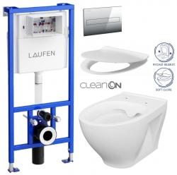 LAUFEN Rámový podomietkový modul CW1 SET s chrómovým tlačidlom + WC CERSANIT CLEANON MODUO + SEDADLO (H8946600000001CR MO1)