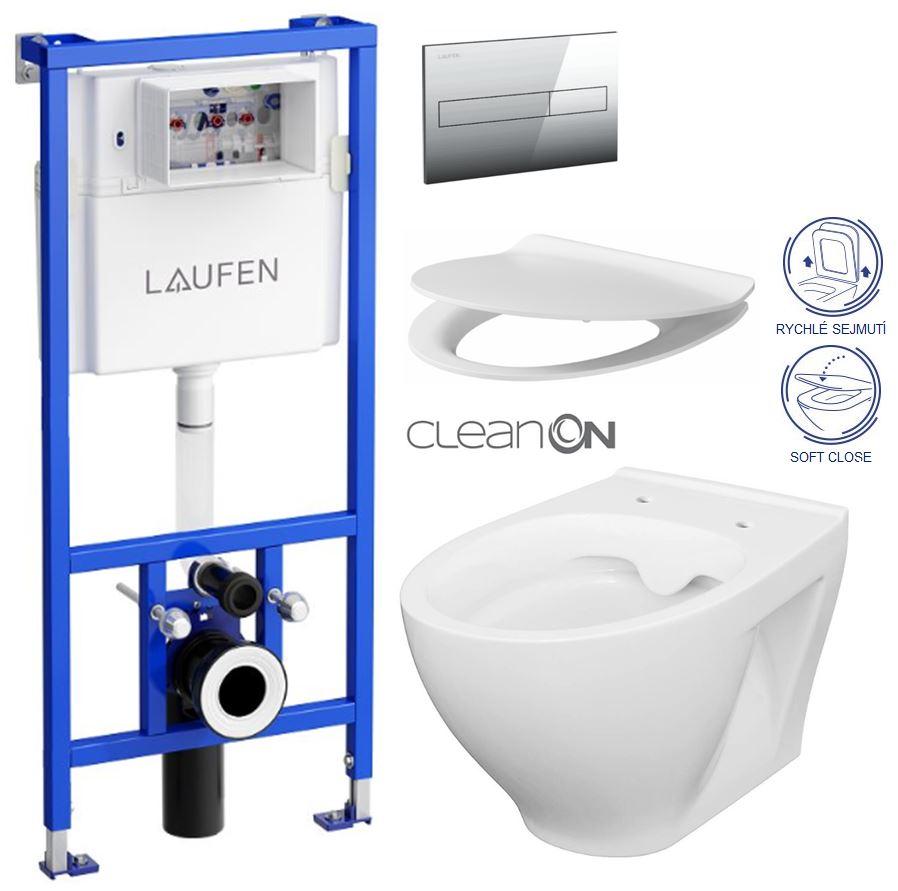 AKCE/SET/LAUFEN - Rámový podomietkový modul CW1 SET + ovládacie tlačidlo CHRÓM + WC CERSANIT MODUO CLEANON + SEDADLO (H8946600000001CR MO1)