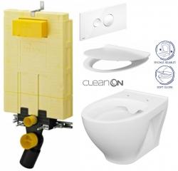 AKCE/SET/VIEGA - SET MONO modul WC čelné ovládanie + ovládacie tlačidlo BIELE + WC CERSANIT MODUO CLENON + SEDADLO (V606732BI MO1)