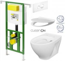 AKCE/SET/VIEGA - Eko PLUS modul do jadra WC čelnej ovládanie SET BIELE + ovládacie tlačidlo BIELE + WC CERSANIT MODUO CLEANON + SEDADLO (V622176BI MO1)