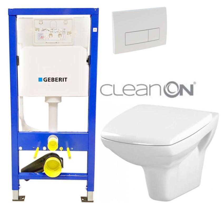 /SET/GEBERIT - Duofix Sada pre závesné WC 458.103.00.1 + tlačidlo DELTA51 BIELE + WC CERSANIT CLEAN ON CARINA + SEDADLO (458.103.00.1 51BI CA1)