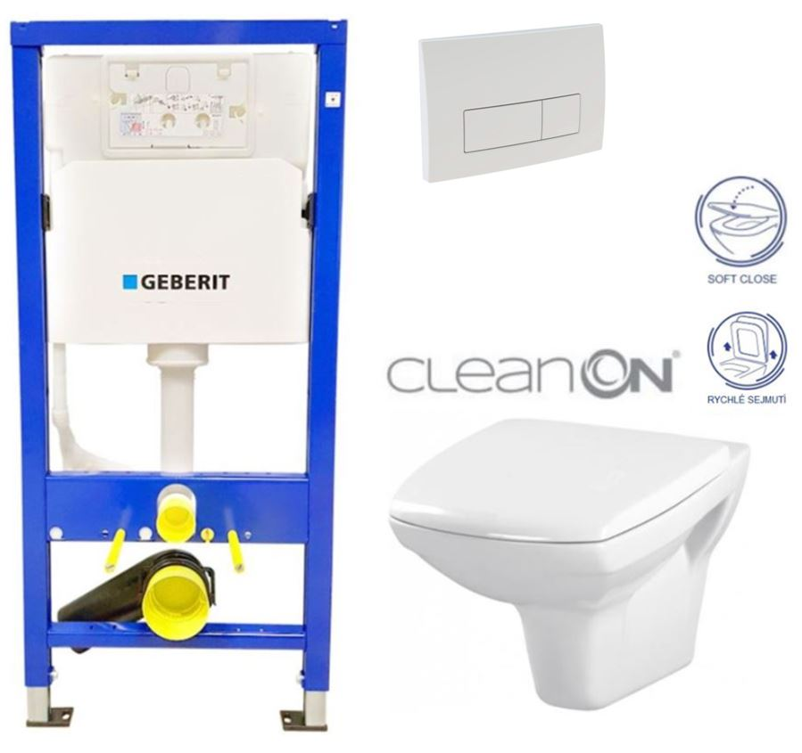 /SET/GEBERIT - Duofix Sada pre závesné WC 458.103.00.1 + tlačidlo DELTA51 BIELE + WC CERSANIT CLEAN ON CARINA + SEDADLO (458.103.00.1 51BI CA2)