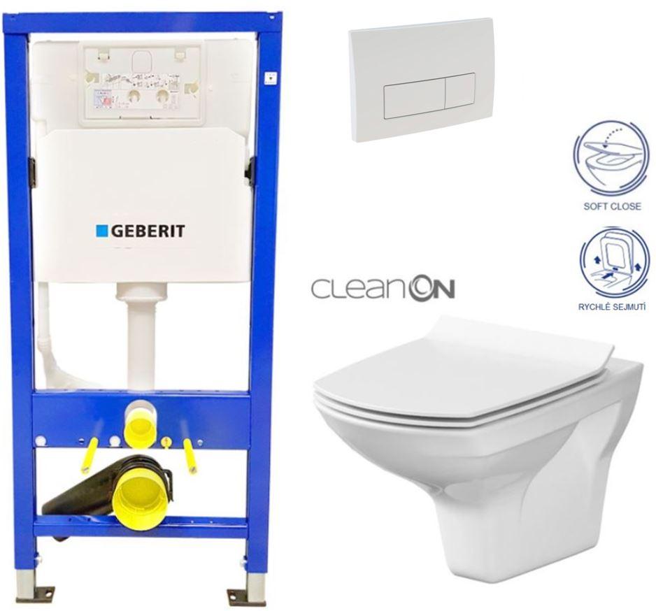 AKCE/SET/GEBERIT - Duofix Sada pre závesné WC 458.103.00.1 + tlačidlo DELTA51 BIELE + WC CERSANIT CLEAN ON CARINA + SEDADLO (458.103.00.1 51BI CA3)