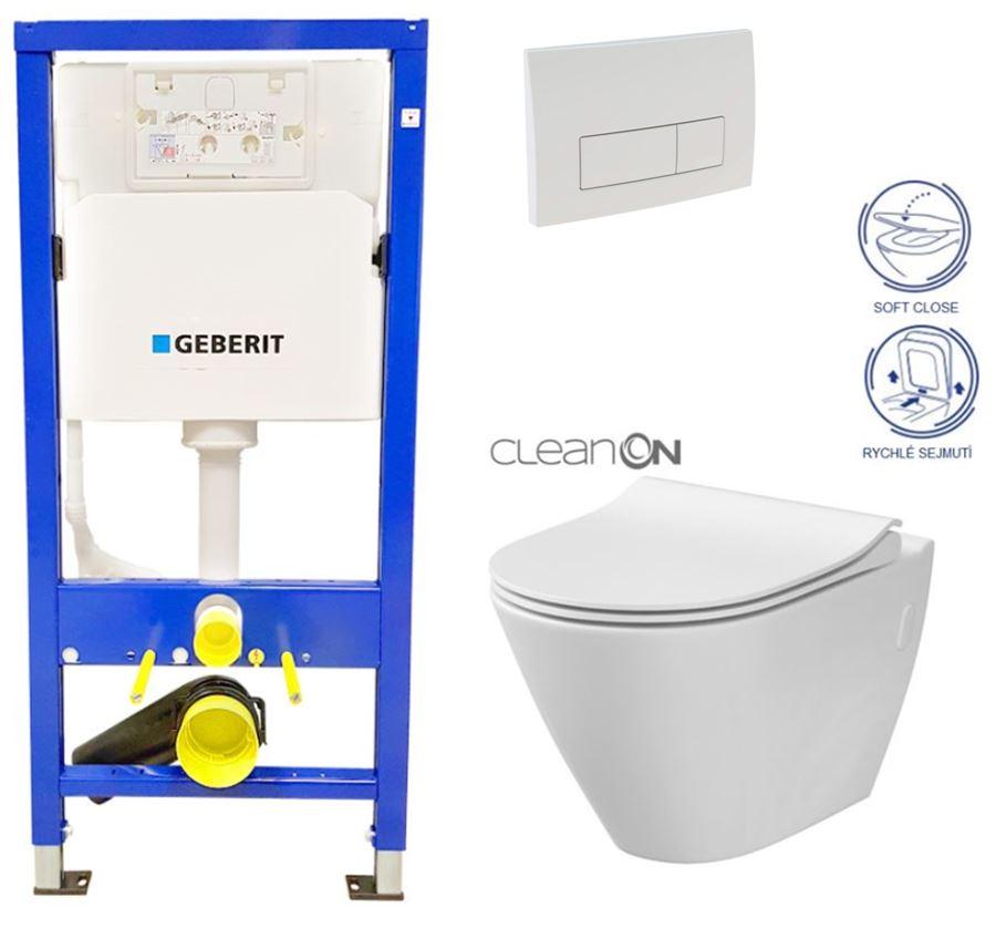 /SET/GEBERIT - Duofix Sada pre závesné WC 458.103.00.1 + tlačidlo DELTA51 BIELE + WC CERSANIT CLEAN ON CITY + SEDADLO (458.103.00.1 51BI CI1)