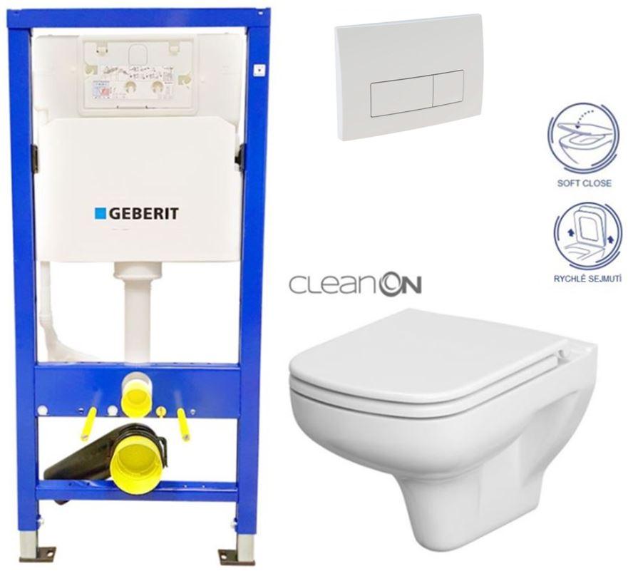 /SET/GEBERIT - Duofix Sada pre závesné WC 458.103.00.1 + tlačidlo DELTA51 BIELE + WC CERSANIT CLEAN ON COLOUR + SEDADLO (458.103.00.1 51BI CN1)