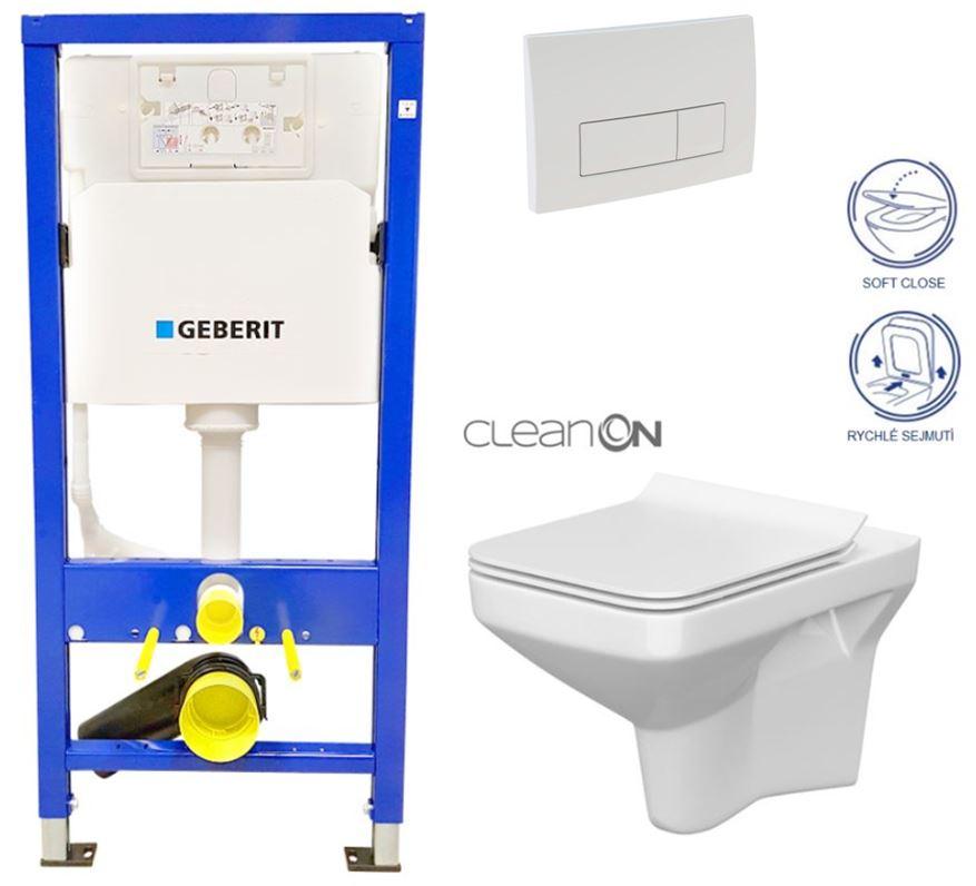 AKCE/SET/GEBERIT - Duofix Sada pre závesné WC 458.103.00.1 + tlačidlo DELTA51 BIELE + WC CERSANIT CLEAN ON COMO + SEDADLO (458.103.00.1 51BI CO1)
