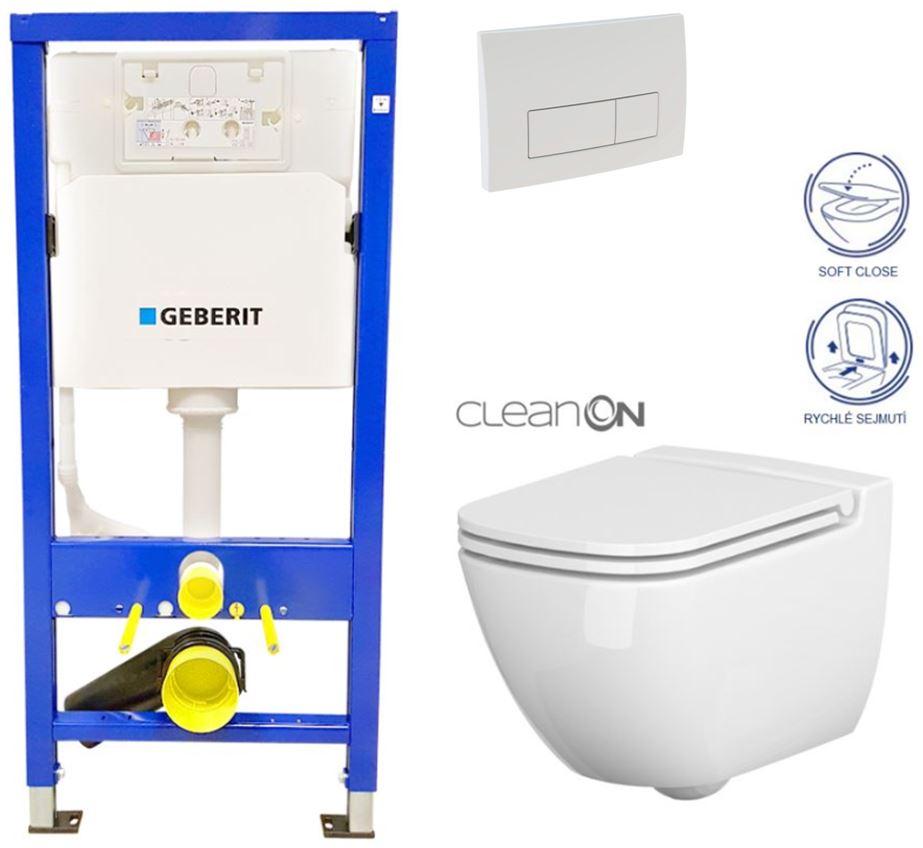 /SET/GEBERIT - SET Duofix Sada pre závesné WC 458.103.00.1 + tlačidlo DELTA51 BIELE + WC CERSANIT CLEAN ON CASPIA + SEDADLO (458.103.00.1 51BI CP1)