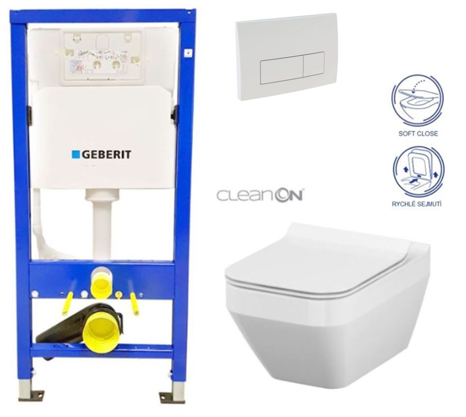 /SET/GEBERIT - Duofix Sada pre závesné WC 458.103.00.1 + tlačidlo DELTA51 BIELE + WC CERSANIT CLEAN ON CREA ŠTVOREC + SEDADLO (458.103.00.1 51BI CR2)