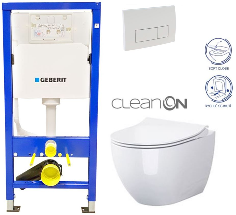 /SET/GEBERIT - Duofix Sada pre závesné WC 458.103.00.1 + tlačidlo DELTA51 BIELE + WC CERSANIT CLEAN ON URBAN HARMONY + SEDADLO (458.103.00.1 51BI HA1)