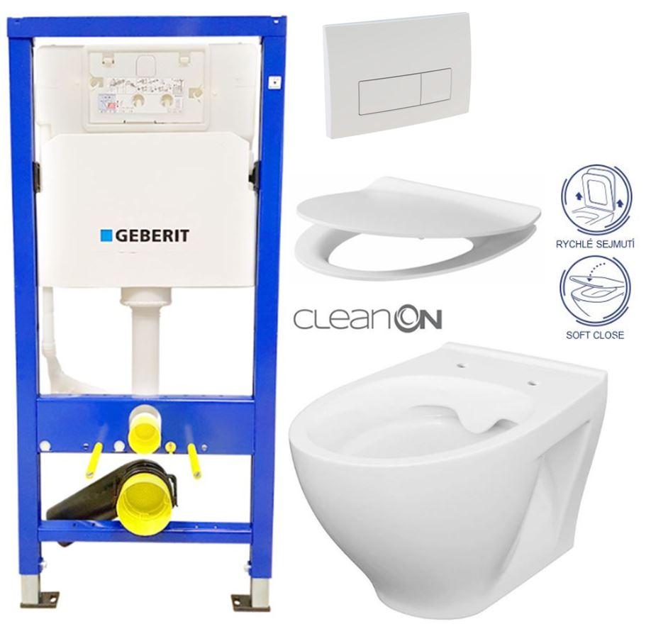 AKCE/SET/GEBERIT - Duofix Sada pre závesné WC 458.103.00.1 + tlačidlo DELTA51 BIELE + WC CERSANIT CLEAN ON módov + SEDADLO (458.103.00.1 51BI MO1)