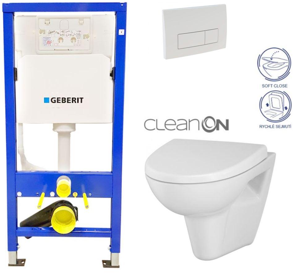 AKCE/SET/GEBERIT - Duofix Sada pre závesné WC 458.103.00.1 + tlačidlo DELTA51 BIELE + WC CERSANIT CLEAN ON PARVA + SEDADLO (458.103.00.1 51BI PA1)