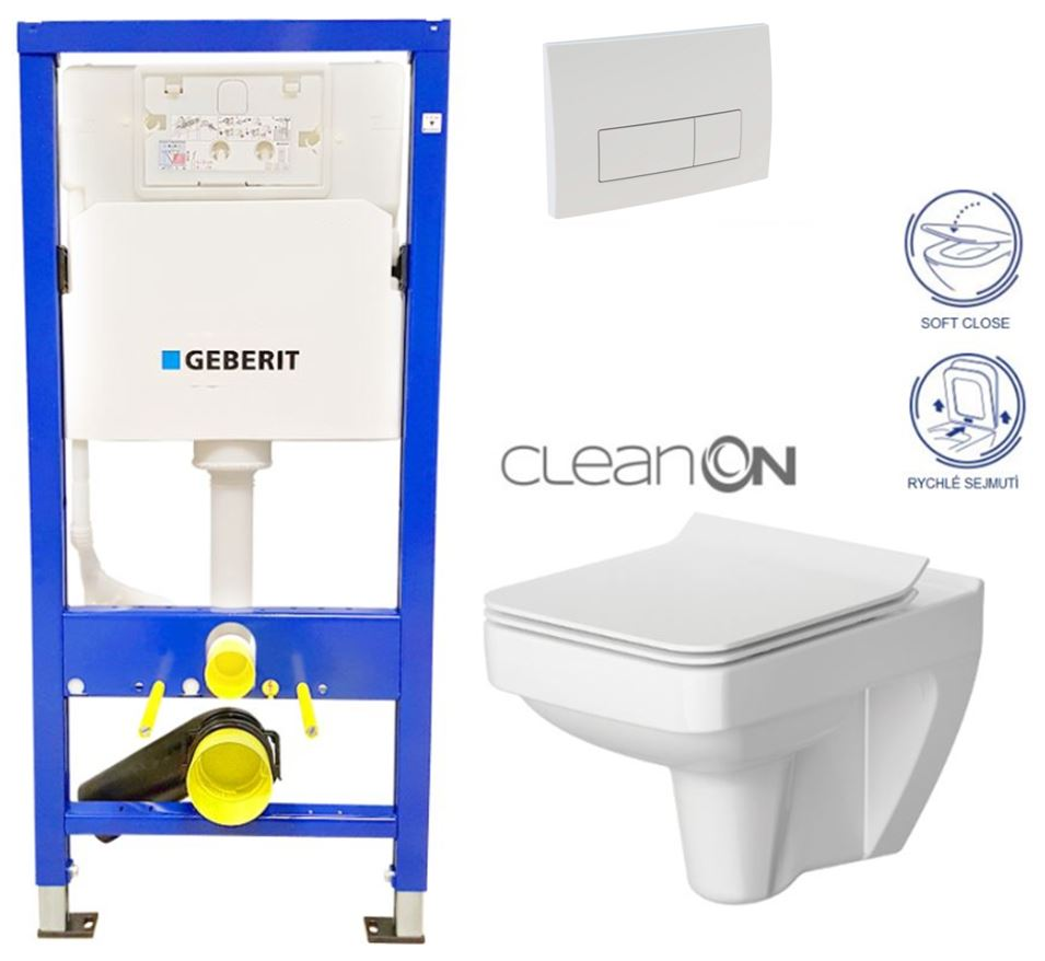 AKCE/SET/GEBERIT - Duofix Sada pre závesné WC 458.103.00.1 + tlačidlo DELTA51 BIELE + WC CERSANIT CLEAN ON SPLENDOUR + SEDADLO (458.103.00.1 51BI SP1)
