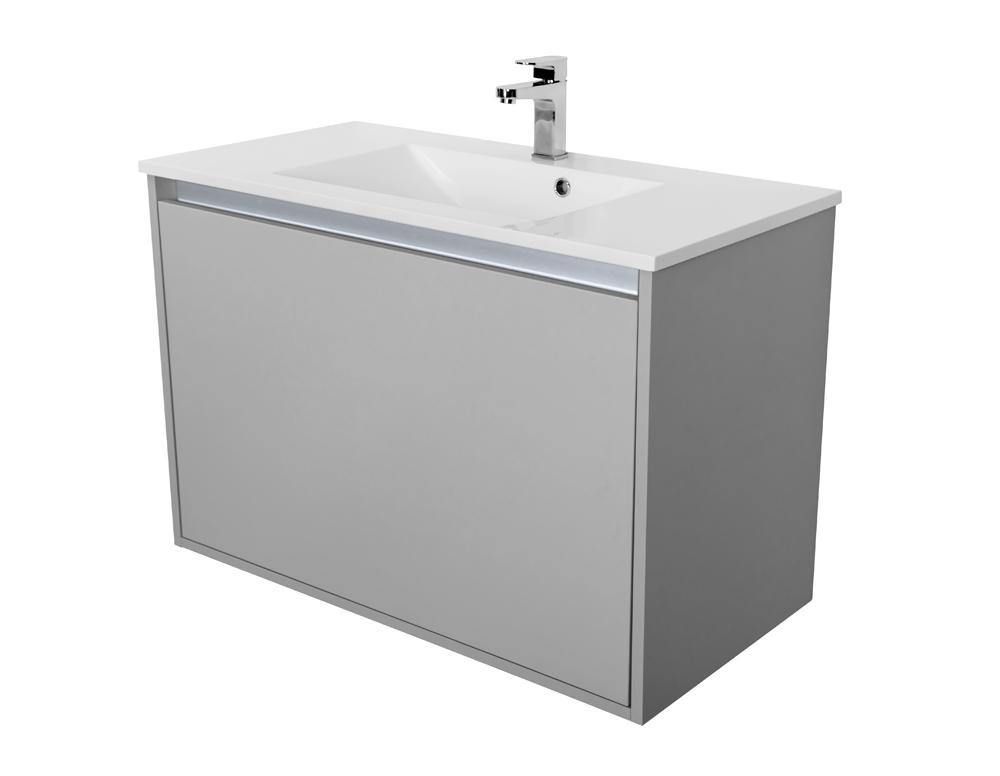 VÝPRODEJ - Amsterdam umývadlová skrinka šírky 90, 1x šuplík, svetlosivá + umývadlo (CA.U1B.111.090UM)