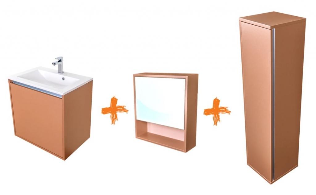 VÝPRODEJ - Amsterdam umývadlová skrinka šírky 60, 1x šuplík, metallic + umývadlo + galerka + stĺpik (CA.U1B.133.060UMGS)