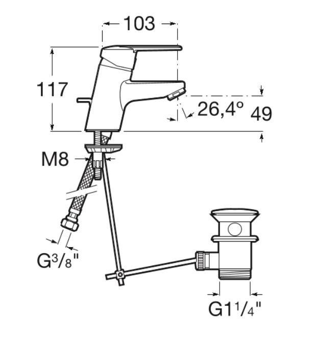 AKCE/ROCA - Umývadlová stojánková páková batéria VICTORIA s automatickou zátkou (75A3025C00)