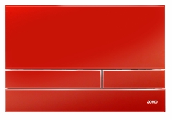 JOMO - TLAČÍTKO EXCLUSIVE 2.1 RÁMEČEK CHROM-LESK 2.0/SKLO ZÁŘIVĚ ČERVENÉ (167-41001240-00)