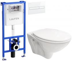 AKCE/SET/LAUFEN - Rámový podomítkový modul CW1  SET BÍLÁ + ovládací tlačítko BÍLÉ + WC CERSANIT MITO + SEDÁTKO (H8946600000001BI MI1)
