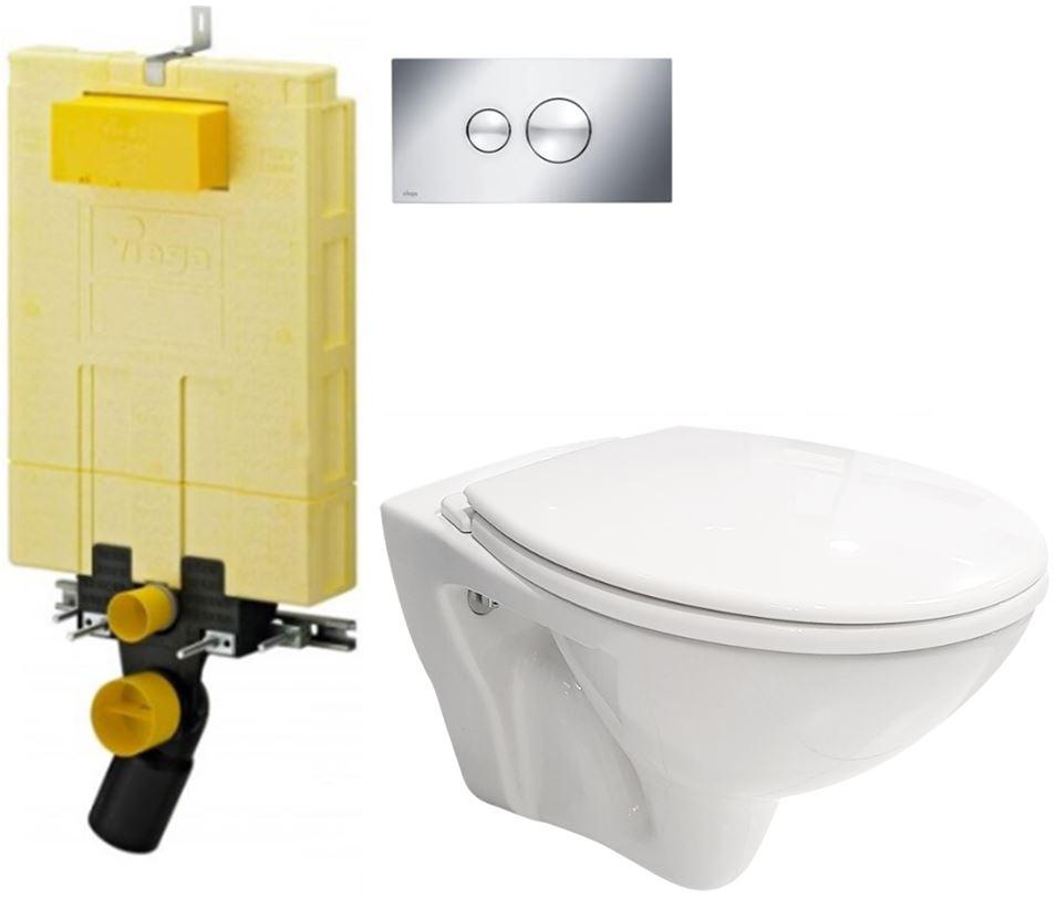 /SET/VIEGA - SET MONO modul WC čelné ovládanie + ovládacie tlačidlo CHRÓM + WC CERSANIT MITO + SEDADLO (V606732CR MI1)