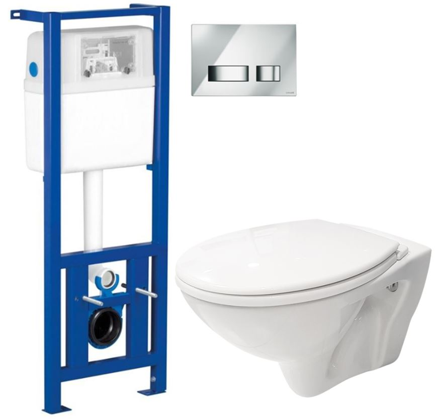 /SET/CERSANIT - Nádržka + WC + sedátko + tlačidlo / K97-108 + K97-026 + TK002-001 + K98-0007 / (SET / 0004)