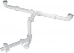 BONOMINI - BAZOOKA SPACE umývadlový sifón šetriaci miesto pre dvojumývadlo, biely (2920CP32B0)