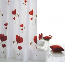SAPHO - MOHN záves, 180x200cm, textil, červenobiela (47800)