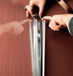 POLYSAN - VITRA LINE sprch.zástena,obdĺžnik zaobl.roh1200x800mm,pravá,ovál.panty,číre sklo (BN2318R), fotografie 4/4
