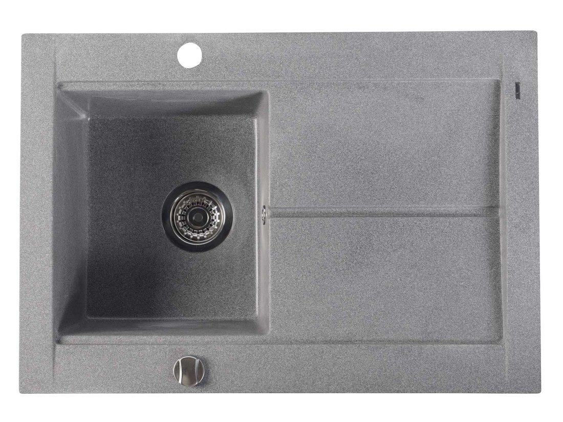 SAPHO SAPHO - Dřez granitový vestavný s odkapávací plochou, 76,5x53,5 cm, šedá (GR1503)