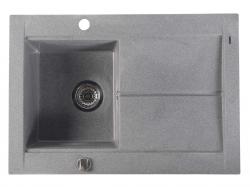 SAPHO - Granitový zabudovateľný drez s odkvapom 76,5x53,5 cm, sivá (GR1503)