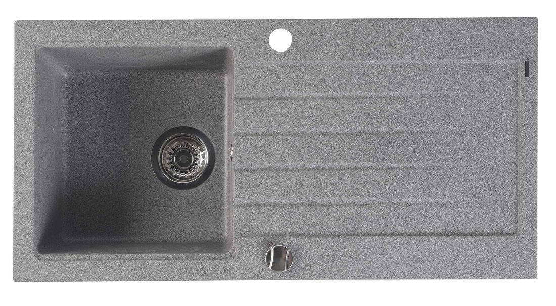 SAPHO SAPHO - Dřez granitový vestavný s odkapávací plochou, 86x43,5 cm, šedá (GR1603)